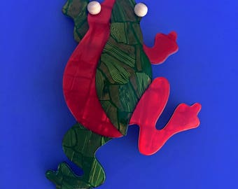 Signed Lea Stein Frog Brooch - Red & Green