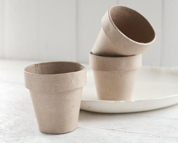 Paper mache flower pots 4 inch pressed cardboard plant pots like this item mightylinksfo Image collections