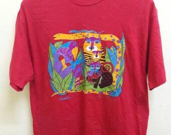 80's vintage LAUREL BURCH animalia t shirt made in USA