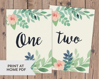 1-20 Printable wedding / event table numbers - watercolor floral + calligraphy font - 5x7 + 4x6 - instant download - High-res PDF's.