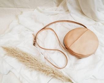 Joni Natural Veg Tan Leather Circle Bag