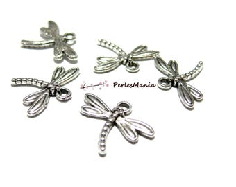 Antique 2W1701 silver Dragonfly charm pendants