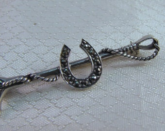 Equistrian Sterling Riding Crop with Marcasite Horseshoe Brooch