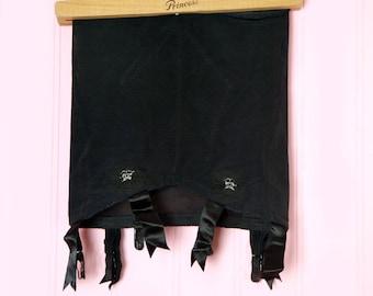 1950's Black Open Bottom Girdle w/ 6 Satin Ribbon Garters -- vintage, SIZE MEDIUM/SMALL