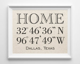 Home Latitude Longitude | 100% Cotton Print | GPS Coordinates Sign | Personalized Housewarming Gift | New House Home Coordinates