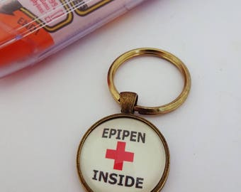 Medical alert, medical jewelry, epipen inside, allergy jewelry, allergy warning, nut allergy, epipen bag tag,insulin inside,sos, ICE,keyring