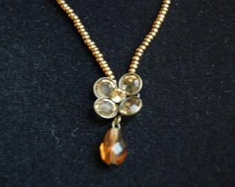 Autumn Flower Y necklace ~ Vintage