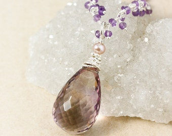 Purple Ametrine Necklace on Amethyst Cluster Chain - Long Layering Necklace