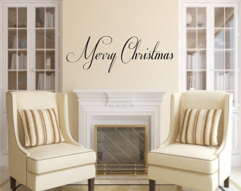 Merry Christmas OR Happy Holidays  Vinyl Wall Decals - Christmas Vinyl Decals - Winter- Holiday Decals