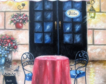 French Cafe ORIGINAL Painting, cafe paintings, coffee shop painting, French paintings, pastry shop, bistro wall art, Vickie Wade art