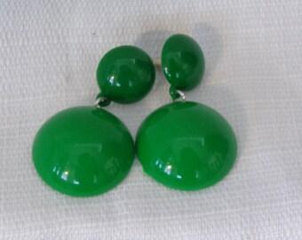 VINTAGE DANGLE EARRINGS Green Earrings 2 inch long Rounded Dome earrings