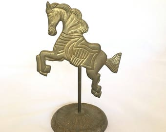 Vintage Brass Carousel Horse Decor