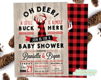 Buffalo Plaid Baby Shower Invitation, Little Buck Invite, Deer Shower, Winter Baby Shower, Antlers Invite, It's a Boy, Flannel Baby Shower