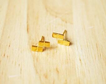 Gold plated Tetris Posts Earring , 80's , Game Jewelry , Geekery Earring , Hammered Tetris Blocks Studs, Retro jewelry, Game Jewelry TSGK088