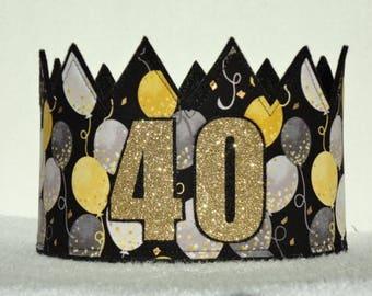 40th Birthday Crown, 40th Birthday, Gold 40th Crown, Adult Birthday, Gold Birthday Crown, Birthday Party Hat, Adult Crowns, Adult Party Hat
