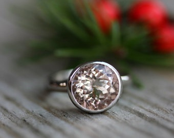 Pink Emerald Ring, Morganite Gemstone Ring, 14k Palladium White Gold Solitaire Handmade Engagement Ring, Eco Friendly and Conflict Free