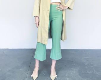 70s Mint Double-knit Crop Flare Pants (S)