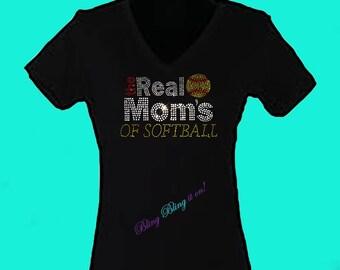 The Real Moms of Softball Bling Shirt
