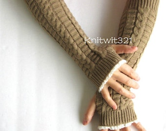 Gifts For Her,Knit Arm Warmers-Camel- Fingerless Knit Gloves-Lace Gloves- Arm warmers.