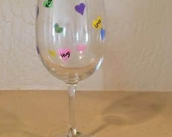 Wine Glass with Hand Painted Conversation Hearts for Valentine's Day
