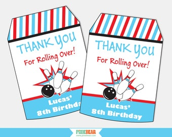 Bowling Party Favor Tags - Bowling Party Favors - Bowling Birthday - Bowling Party - Thank You Tags - Printable Favor Tag (Instant Download)