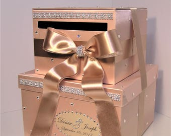 Wedding Card Box Rose Gold and Champagne ,Gift Card Box Money Box  Holder Sweet 16--Customize your color