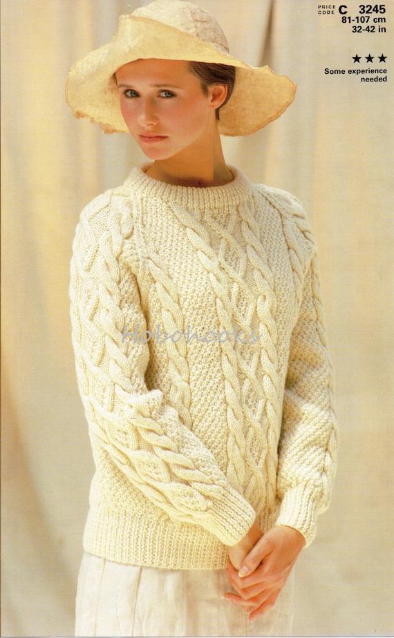 Ladies knitting pattern ladies aran sweater crew neck aran ladies knitting pattern ladies aran sweater crew neck aran cable sweater 32 42inches aran yarn womens knitting pattern pdf instant download dt1010fo