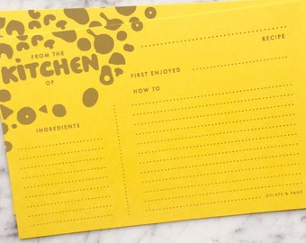 "Recipe Cards // Hand Silkscreened, Screenprinted, Yellow 4 x 6"" (Set of 12) // Foodie Gift, Wedding Shower,  Housewarming, Cooking"