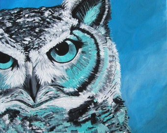 "Blue Owl - ""Tiffany"" - 12"" x 12"" print"