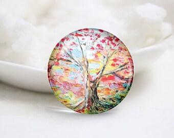 Handmade Round Tree Photo Glass Cabochons (P3510)