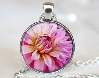 Pink Dahlia Pendant, Pink Flower Pendant, Dahlia Necklace, Flower Jewelry, Dahlia Art Pendant, Bronze, Silver, Roses Jewelry, 367