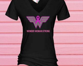 Rhinestone Breast Cancer Wonder Woman Strong, Tshirt