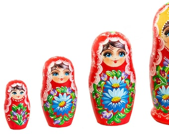 Matryoshka - Russian Matryoshka, Nesting Dolls, Set 5pc, Handmade