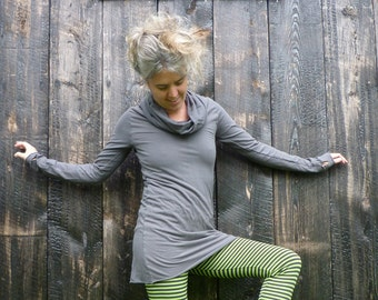 Organic Clothing Organic Cotton Bamboo Clothing Cowl Tunic Eco Chic Apparel Women Organic Clothing Organic Cotton Dress Custom Made to Order