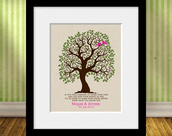 Wedding Gift, Established Date Family Tree, Love Bird Family Tree Wall Print, Bridal Shower Gift, Wedding Day Decorations, Anniversary Gift