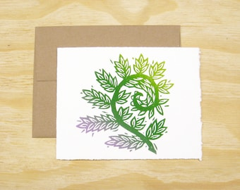 Single Card - Fiddlehead Fern Card - Spring Sprouts - 1 Block Printed Card