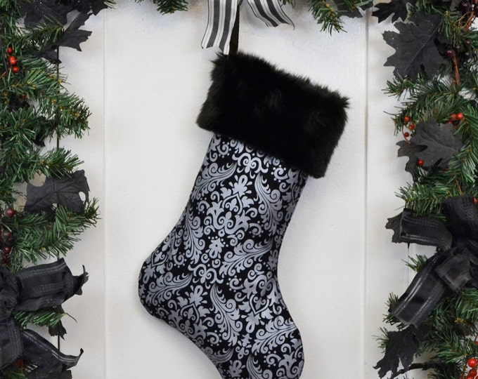 Gothic Victorian Christmas Stocking Metallic Silver Damask, Black Faux Fur, Black Canvas Liner
