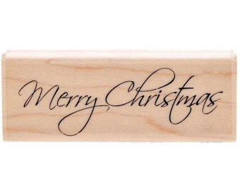 Merry Christmas Holiday Wood Mounted Rubber Stamp Scrapbooking & Paper Craft Supplies