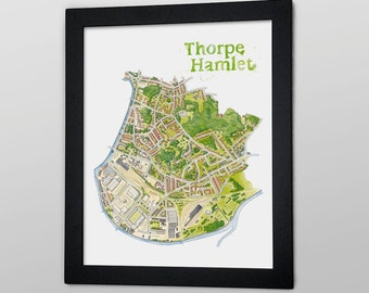 Thorpe Hamlet Illustrated Map - 12 x 16 Giclée print / A3 digital Print