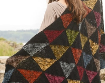 "Handmade hand knit 100% alpaca wool blanket / throw, with triangle divided squares pattern -  90 x 135 cm / 35"" x 53"""