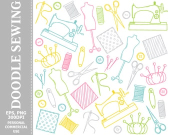 Doodle Sewing Clip Art - Sewing Machine, Buttons, Threads, Fabric, Scissors, Needle Clip Art