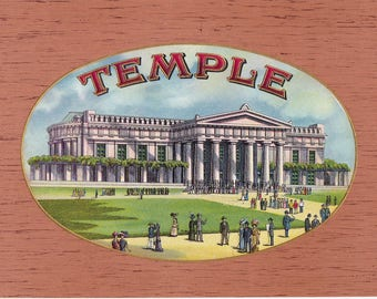 Temple Original Unused Vintage Embossed Inner Cigar Box Label Temple Cigar Co. Temple, Pa.  Building From St. Louis World's Fair 1904