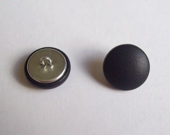 6 20mm dark blue leather covered buttons