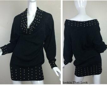 Black Beaded Knit Long Sleeve Can be Worn as Shirt or Dress Size Medium