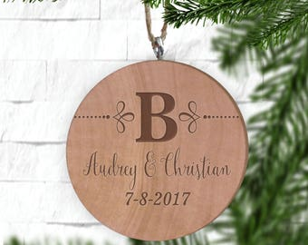 Last Initial Couple's Ornament, Personalized Ornament, Engraved Wooden Gift Tag, Engraved Wooden Christmas Ornament, Wood Ornament