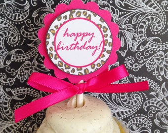 12 cheetah cupcake toppers, happy birthday cupcake toppers, cheetah toppers, set of 12