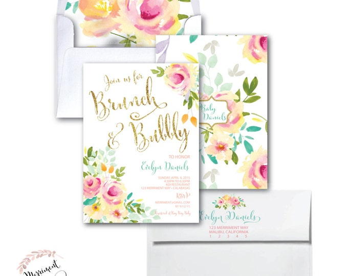 Brunch and Bubbly Invitation // Watercolor // Roses //Peonies//Peony//Bridal Shower//Pink //Mint//Gold Glitter // Yellow// MALIBU COLLECTION