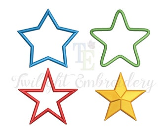 Set of 4 Star Machine Embroidery Designs, Embroidery Star Design, Star Applique Embroidery Designs, Star Fill Embroidery Design, 0014