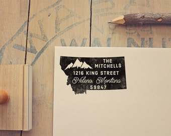 Montana Return Address State Stamp, Personalized Rubber Stamp