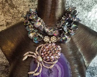 Purple Druzy Agate Statement Pendant Statement Necklace KATROX Pearl Shell Necklace OOAK Art to Wear Gift for Women Druzy Spider Tarantula